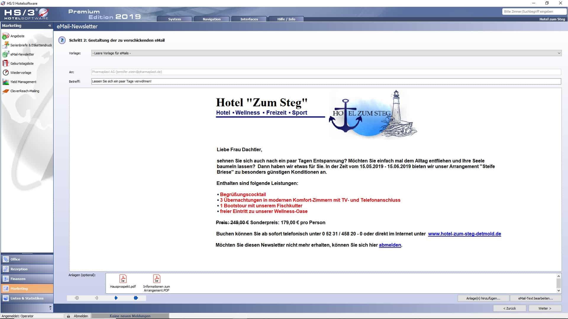 Geburtstagsliste marketing - hs/3 hotelsoftware