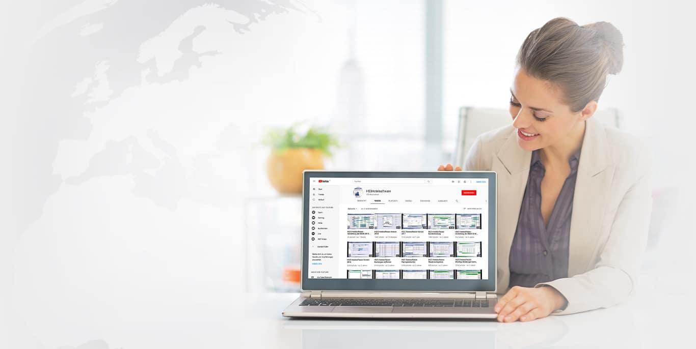 Unsere Videos zeigen die<br />Funktionsvielfalt von HS/3 Hotelsoftware